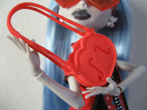 Doll purse Violina 1:6 in Red Processed Versatile Plastic