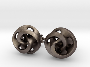 Mobius Cufflinks in Polished Bronzed Silver Steel
