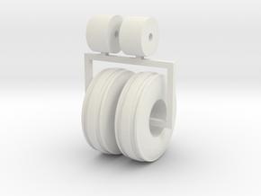 1:64 3 Rib 1100 16 tractor tires in White Natural Versatile Plastic