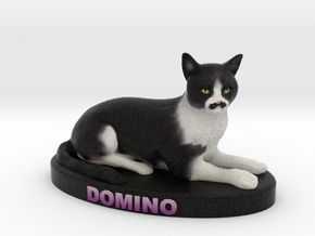 Custom Cat Figurine - Domino in Full Color Sandstone