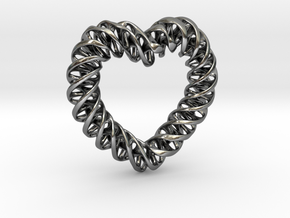 Pendant_Mobius Heart in Polished Silver