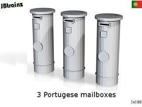 3 Portuguese mailboxes (1:160) in Smooth Fine Detail Plastic