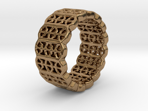 Grid Ring - EU Size 58 in Natural Brass
