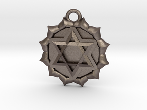 Anahata (Heart Chakra) Pendant in Polished Bronzed Silver Steel