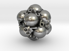 Spin-Down Ossuary d20 in Natural Silver