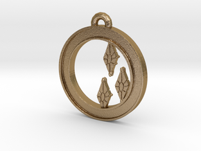 Rarity Cutie-mark Circle-pendant in Polished Gold Steel