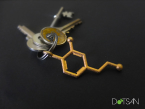 Dopamine Key chain 3D Printed Steel in Polished Gold Steel