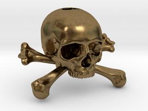 35mm 1.4in Keychain Skull & Bones Bead in Natural Bronze