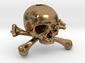 35mm 1.4in Keychain Skull & Bones Bead in Natural Brass