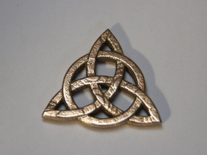 Triquetra Celtic Necklace Center Piece in Polished Bronzed Silver Steel