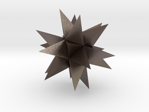Great Stellated Dodecahedron in Polished Bronzed Silver Steel