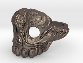 Dr.K Skull Ring Size 5 in Polished Bronzed Silver Steel