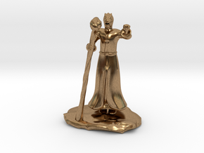 Dragonborn Wizard in Robes with Staff in Natural Brass