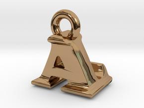 3D Monogram Pendant - ALF1 in Polished Brass