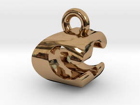 3D Monogram Pendant - CGF1 in Polished Brass