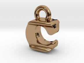 3D Monogram Pendant - CIF1 in Polished Brass