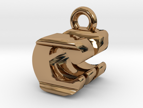 3D Monogram Pendant - CMF1 in Polished Brass