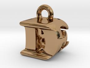 3D Monogram Pendant - DEF1 in Polished Brass