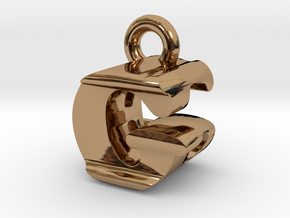 3D Monogram Pendant - GEF1 in Polished Brass