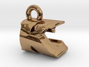 3D Monogram Pendant - KCF1 in Polished Brass