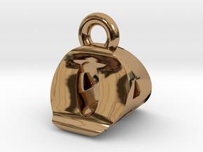 3D Monogram Pendant - OAF1 in Polished Brass