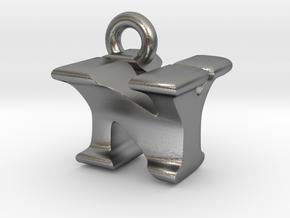 3D Monogram Pendant - NYF1 in Natural Silver