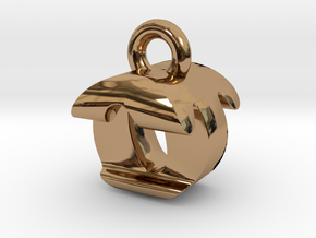 3D Monogram Pendant - OTF1 in Polished Brass
