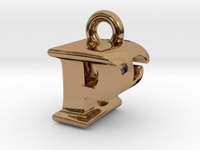 3D Monogram Pendant - PEF1 in Polished Brass