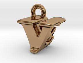 3D Monogram - VEF1 in Polished Brass