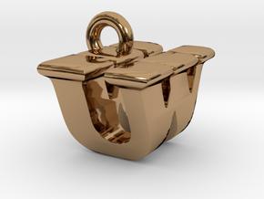3D Monogram - UWF1 in Polished Brass