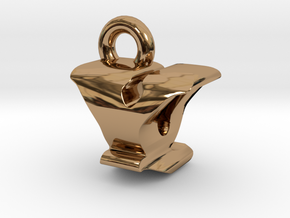 3D Monogram - YQF1 in Polished Brass