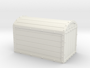1/56th (28 mm) scale wooden chest with metal frame in White Natural Versatile Plastic