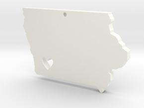 I Love Iowa Necklace in White Processed Versatile Plastic