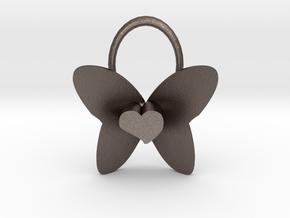 Cute Heart Butterfly Pendant in Polished Bronzed Silver Steel