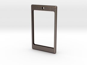 Badge frame with loop 20141103-01 in Polished Bronzed Silver Steel
