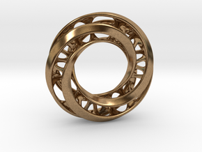 Mobius Ring Pendant v4 in Natural Brass