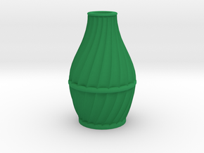 Scalloped Vase Neck Spiral Small in Green Processed Versatile Plastic