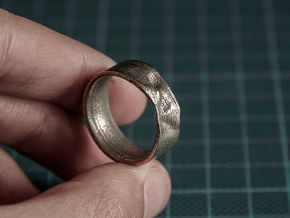 The Crumple Ring - 19mm Dia in Polished Bronzed Silver Steel