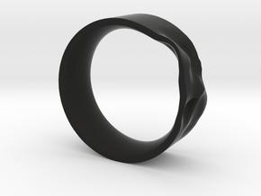The Crumple Ring - 17mm Dia in Black Natural Versatile Plastic