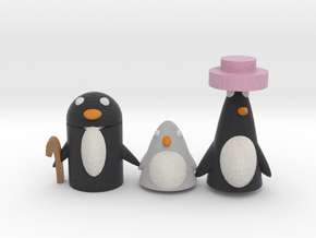 A Penguin Family  in Full Color Sandstone