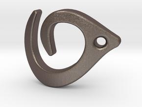 Flowline Pendant in Polished Bronzed Silver Steel
