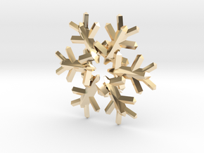 Snow Flake 6 Points E 4cm in 14K Yellow Gold