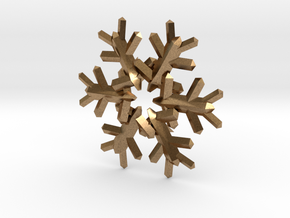 Snow Flake 6 Points E 4cm in Natural Brass