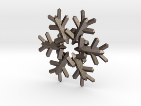 Snow Flake 6 Points E 4cm in Polished Bronzed Silver Steel