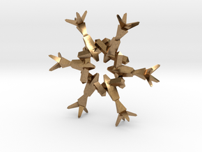 Snow Flake 6 Points B - 4.6cm in Natural Brass