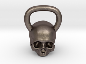 Kettlebell Skull in Polished Bronzed Silver Steel
