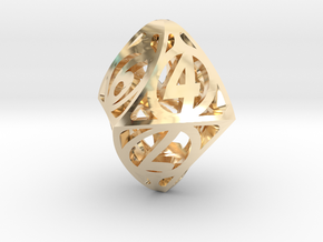 Twisty Spindle d8 in 14K Yellow Gold