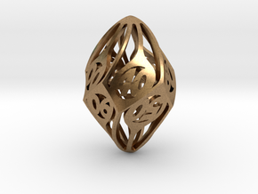 Twisty Spindle d10 Decader in Natural Brass