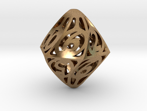 Twisty Spindle d12 in Natural Brass