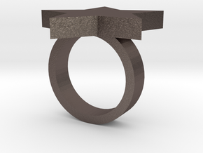 Star Ring (JR_0286_Star) in Polished Bronzed Silver Steel